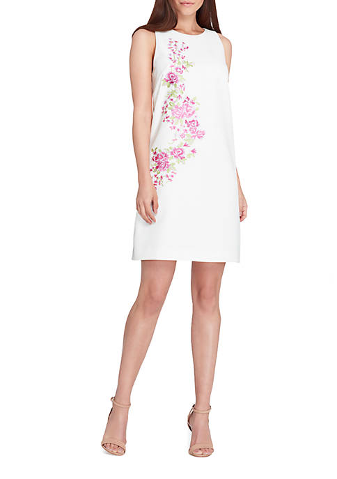 Tahari ASL Sleeveless Embroidered Crepe Sheath Dress