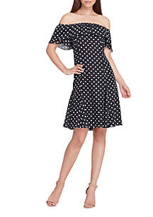 Off-Shoulder Chiffon Dot Dress
