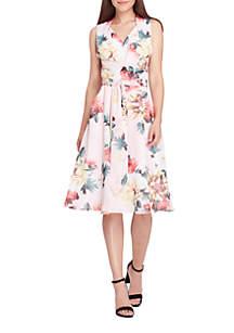 Sleeveless Printed Georgette Tie Waist Pleated Skirt Dress