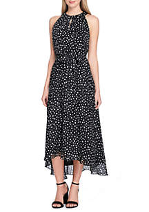 Keyhole Neck Tie Waist Fit and Flare Dress