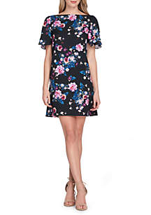 Short Sleeve Printed Scuba Dress