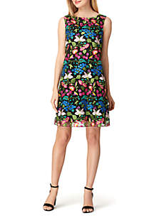 Sleeveless Embroidered Floral Shift Dress