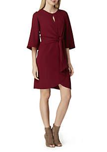 3/4 Sleeve Crepe Front Tie Dress