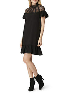 Short Sleeve High Neck Ruffle Dress