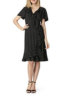 Short Sleeve Ruffle Stripe Dress