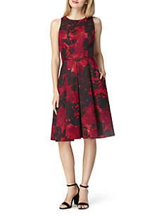 Sleeveless Basketweave Floral Dress