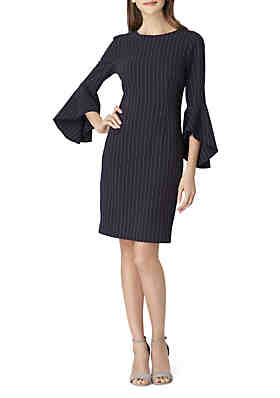 Tahari Asl 3 4 Sleeve Pinstripe Sheath Dress