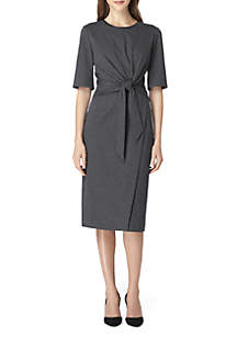 3/4 Sleeve Front Knot Dress