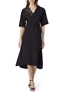 Elbow Sleeve Embroidered Shoulder Dress