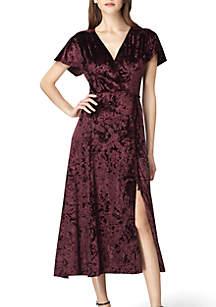 Short Sleeve Velvet Wrap Dress