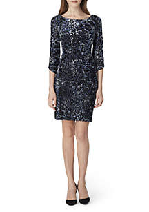 Long Sleeve Velvet Burnout Dress