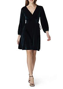 Long Sleeve V-Neck Velvet Dress
