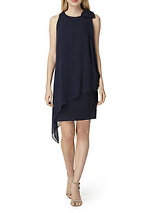 Sleeveless Bow Shoulder Chiffon Dress