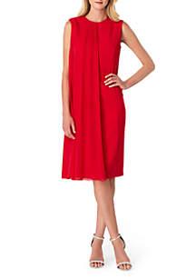 Sleeveless Chiffon Overlay Sheath Dress