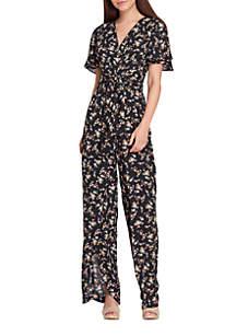Short Sleeve V-Neck Printed Georgette Jumpsuit
