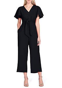 Tahari ASL Short Sleeve Crop Leg Tie Waist Jumpsuit