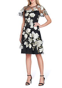 Short Sleeve Embroidered Mesh Fit-and-Flare Dress