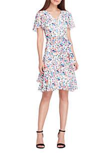 Cold-Shoulder Chiffon Tiered Flutter Wrap Dress