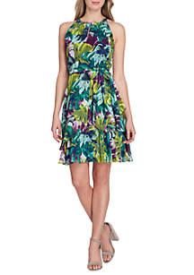 Sleeveless Ruffle Hem Tie-Waist Dress