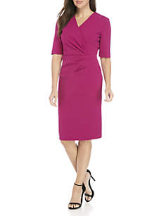 3/4 Sleeve V-Neck Scuba Crepe Sheath Dress
