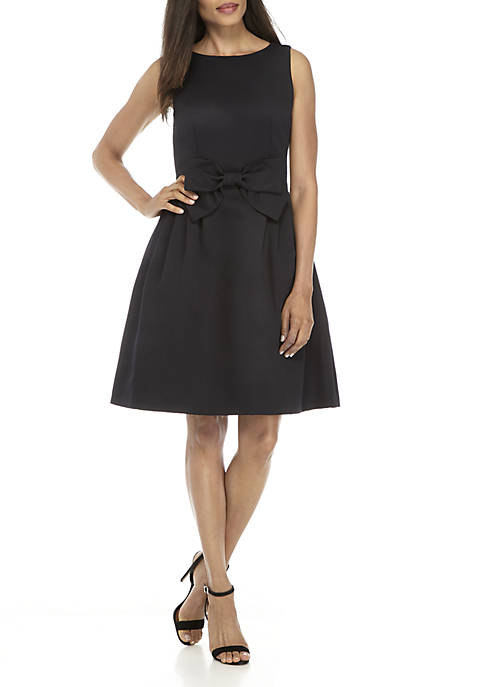 Tahari ASL Sleeveless Fit-And-Flare Bow Tie Waist Dress