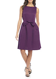 Sleeveless Fit-And-Flare Bow Tie Waist Dress