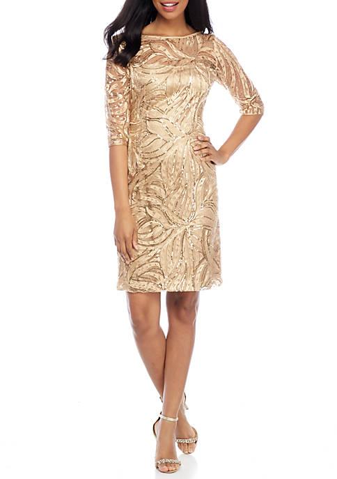 Tahari ASL Sequin Lace Sheath Cocktail Dress   belk