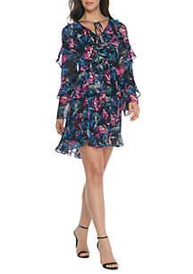 Floral Print Ruffle Dress