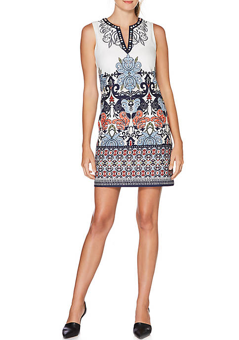 Laundry by Shelli Segal Embroidered Sleeveless Shift Dress