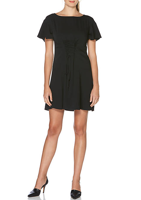 Laundry by Shelli Segal Short Sleeve Ruffle Lace-Up