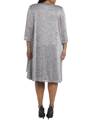 Plus Size Textured Mock Jacket Dress with Necklace