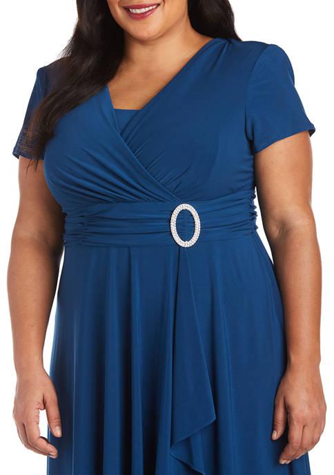 RM Richards Plus Size Faux Wrap Dress