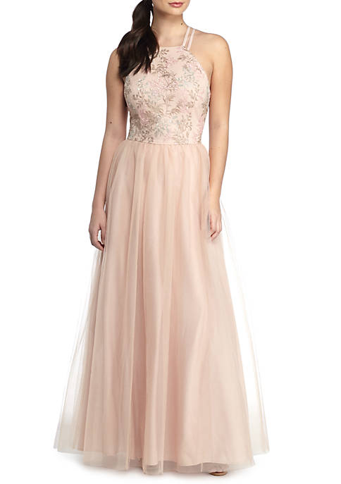 RM Richards Embroidered Bodice Strappy Open Back Gown