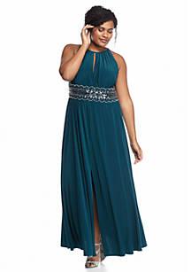 92d0d59bdc788 RM Richards. RM Richards Plus Size Beaded Waist Halter Gown