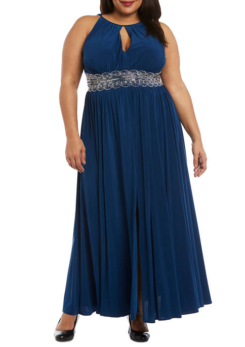 Plus Size Beaded Waist Halter Gown