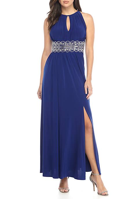 Womens Beaded Waist Sleeveless Maxi Dress