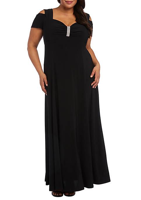 RM Richards Plus Size Cold Shoulder Gown