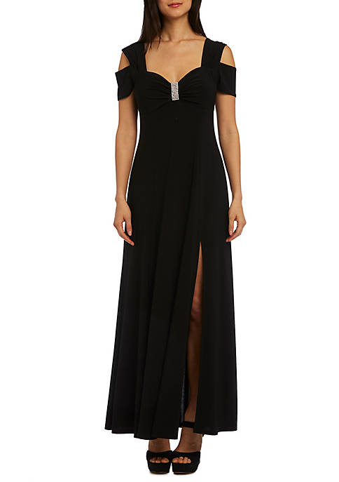 Womens Long Cold Shoulder Dress