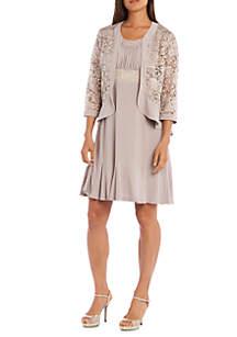 Ruffle and Lace Jacket Dress