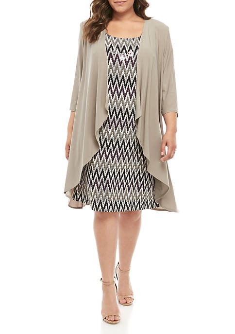 RM Richards Plus Size Jersey Elongated Jacket Dress
