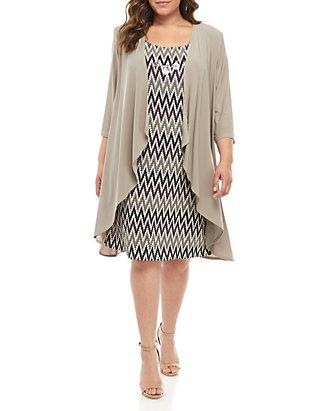 RM Richards Plus Size Jersey Elongated Jacket Dress | belk