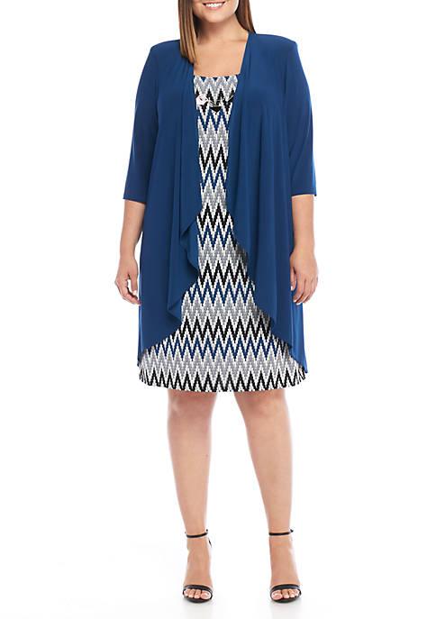 Plus Size Jersey Elongated Jacket Dress