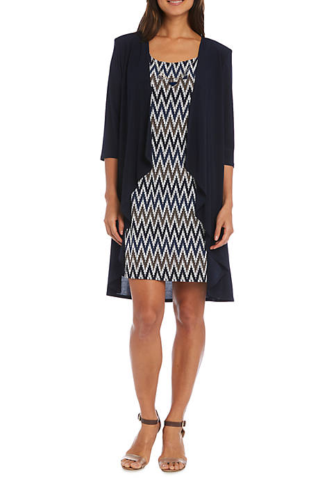 RM Richards Chevron Printed Jacket Dress