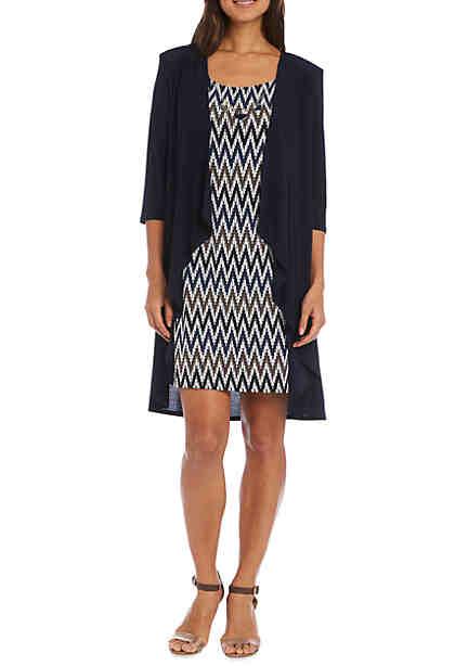 RM Richards Chevron Printed Jacket Dress ...