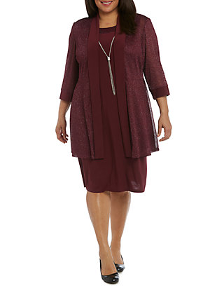 Plus Size Jacket Dress with Necklace
