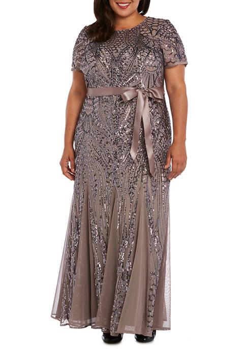 RM Richards Plus Size Embellished Sequins Panel Godet