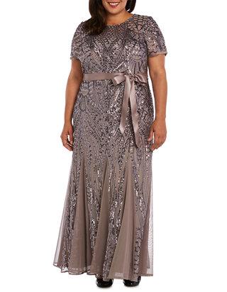 Plus Size Embellished Sequins Panel Godet Dress