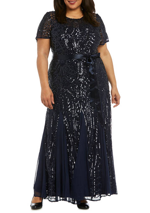 RM Richards Plus Size Embellished Sequins Panel Godet