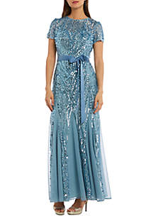 e1051f7edd2 RM Richards Plus Size 3 Piece Pant Set · RM Richards Short Sleeve Beaded Long  Gown