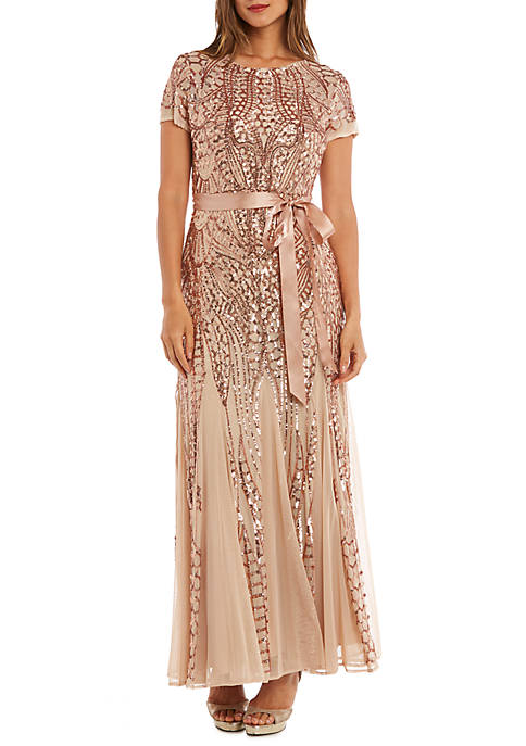 RM Richards Short Sleeve Beaded Long Gown